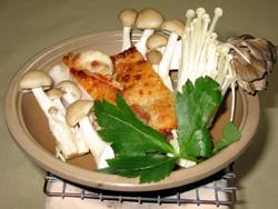 茸と地鶏の陶板焼き