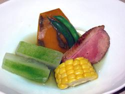 鴨ロースと夏野菜の炊き合わせ