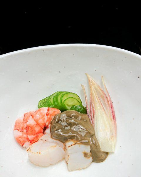 ホタテと海老のカニ味噌和え