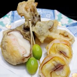 栗と茸の天ぷら