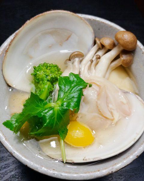 蛤と菜花の茶碗蒸し