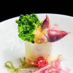 ホタルイカと菜花辛子酢みそ