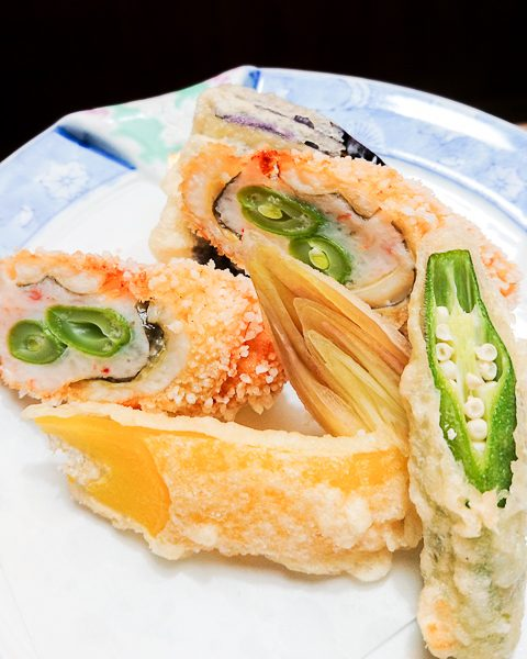 穴子と海老の八幡揚げと夏野菜の天ぷら
